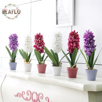 1Set Artificial Plant Potted Flower Silk Hyacinth Flower Bonsai For Wedding Party Garden Home Decoration 3