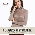 100% De Punto De Seda Femenina Camiseta de Manga Larga de Cuello Alto Camisa de la Solapa de la Chaqueta