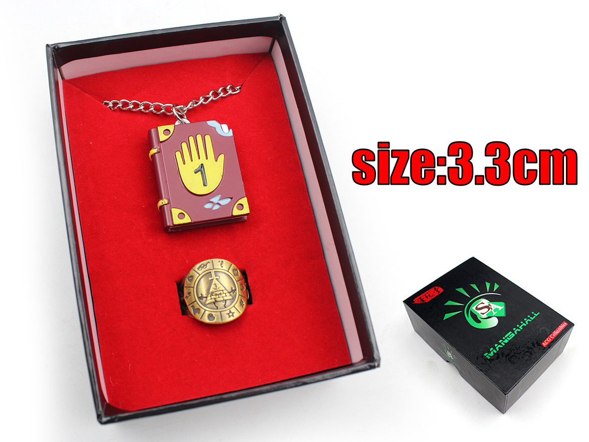 OHCOMICS Hot Anime Gravity Falls Bill Zodiac Journal 1-3 Metal Necklace+Ring+Pendant+Box Costume Accessories Decor Ornament Gift