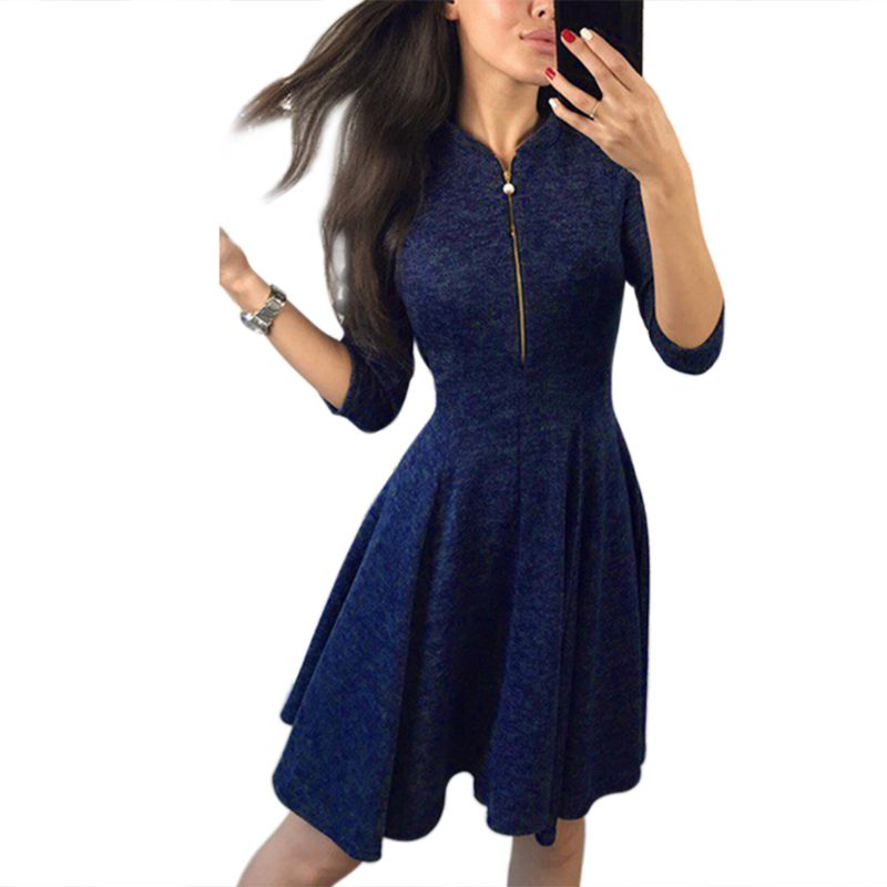 Womens Summer 3 4 Sleeves Mini Bodycon Shirt Dress Faux Pearl Zipper V Neck Solid Color Empire Waist Pleated Cocktail Party Swin in Dresses from Women 39 s Clothing
