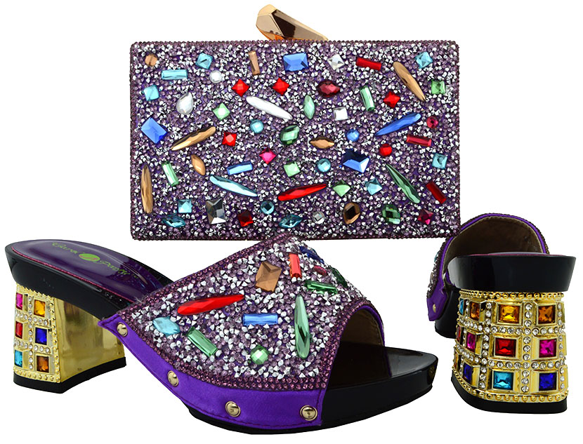 ФОТО Latest African Shoes And Bag Sets For Party Beautiful Italian Style Pump Matching With Bags In Purple BCH-18