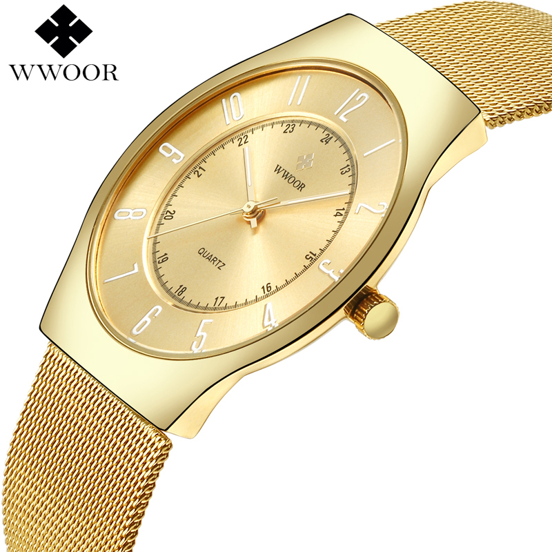 2017 WWOOR Top Brand Luxury Men Ultra Thin Waterproof Gold Watch Men's Quartz Analog Clock Male Sports Watches relogio masculino wwoor men watch top brand luxury date ultra thin waterproof quartz wrist watch men silver clock male sports watches reloj hombre
