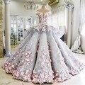Das mulheres vestido de Baile Vestido de Casamento 2016 Colher Mangas New 3D Cristal Varredura Apliques vestidos de noiva Vestidos de Casamento de Luxo