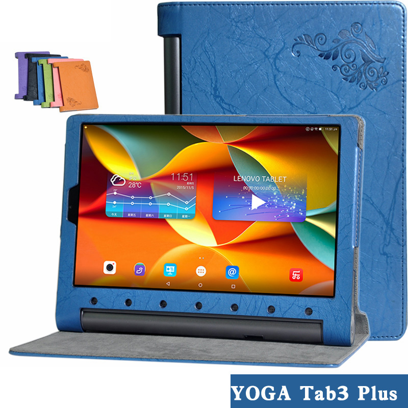 Ultra Thin Slim Folio Stand Protective Print Flower PU Leather Sleeve Case Cover For Lenovo YOGA Tab 3 Plus YT-X703F Tablet PC ultra thin smart pu leather cover case stand cover case for 2015 lenovo yoga tab 3 8 850f tablet free film free stylus