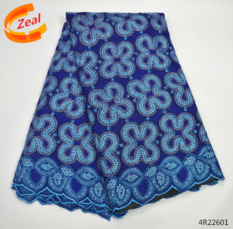 Zeal Blue african voile swiss lace with stones New arrival nigerian cotton swiss lace big dry lace for women 5 yards/lot 4R226