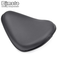 BJMOTO Black Leather Driver Solo Slim Seat Pad for Harley Sportster Bobber Chopper
