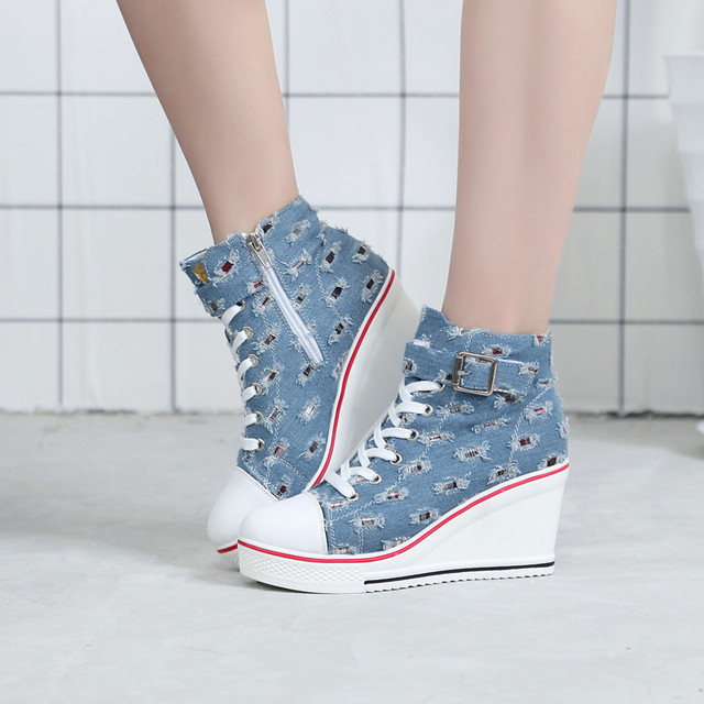 4db052f7cb6 Breathable High Top Platform Shoes Women Canvas Shoes Summer 2019 Casual  Denim Shoe Ladies Trainers High Heel for Walking