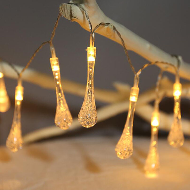 New Led water drop pendant lamp Battery Powered Mini LED Fairy String Light Night Lamp For Bedroom Party Wedding Decoration
