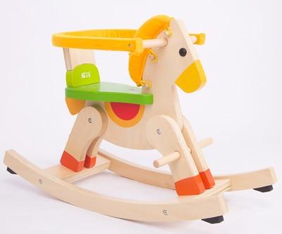 Cheval à bascule en bois multifonction double amovible clôture costume pour 1 - 4 ano bébé jouet cadeau