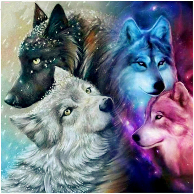 DIY Four Wolf 5D full square/round crafts home decor