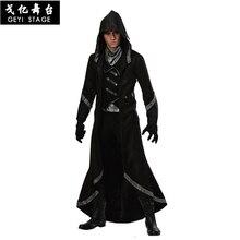 ใหม่ฮาโลวีนMan WizardศาสนาMissionaryเจ้าพ่อMagicianฟาโรห์ชุดแฟนซีสีน้ำตาลRobeเครื่องแต่งกายCosplayกับหมวก