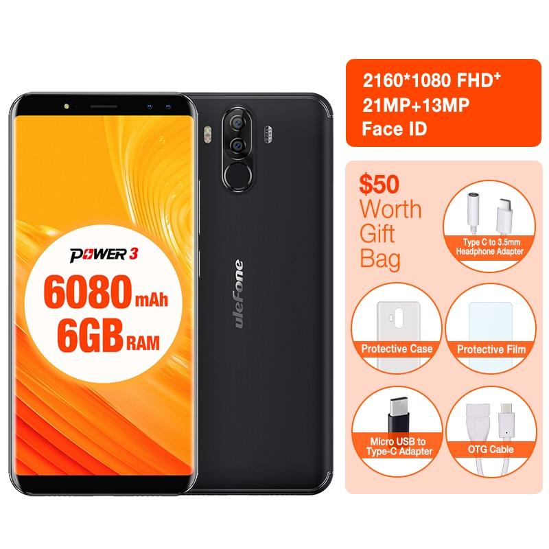 Poder Ulefone 3 Face ID 6.0 Tela de 18:9 6 GB RAM 6080 mAh Do Telefone Móvel MTK6763 21MP Smartphones Octa Núcleo 64 GB ROM Android 7.1 os