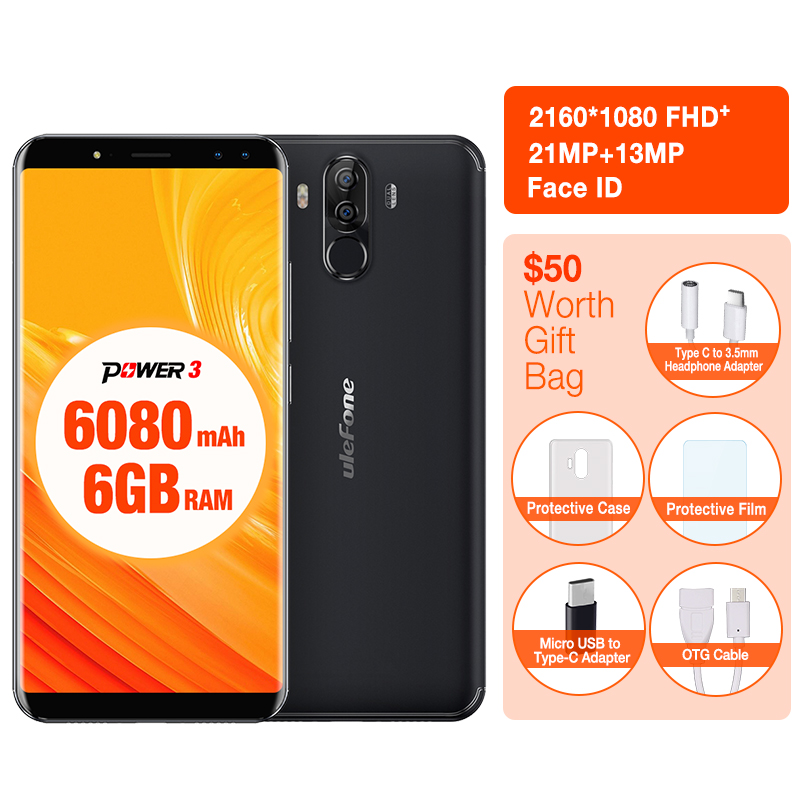 Ulefone Power 3 Face ID 6.0 18:9 Display 6GB RAM 6080mAh Mobile Phone MTK6763 Octa Core 64GB ROM Android 7.1 OS 21MP Smartphone
