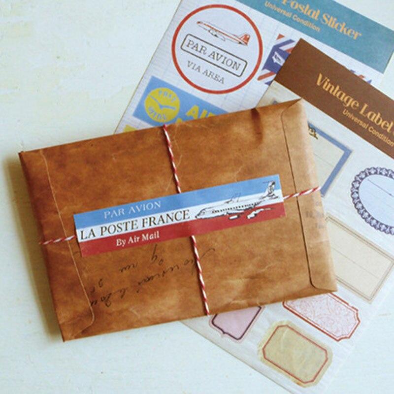 5 Pcs/Set Retro Style Kraft Paper Envelope Postcard Invitation Letter Stationery Paper Bag Vintage Air Mail Gift Envelope XF08