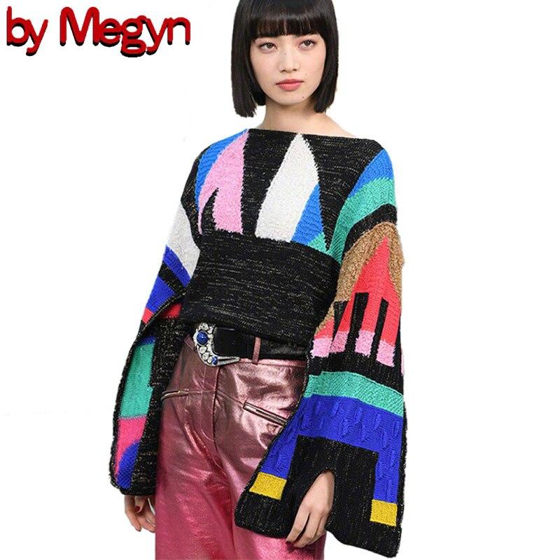 By Megyn 2019 Fall Women Sweater свитер женский O-neck Long Sleeve Loose Fashion Top Knitted Wear Designer Brand Runway Style