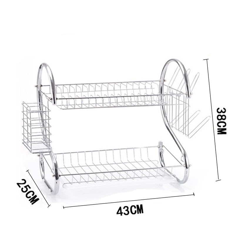 Double Layer Dish Rack S-Shaped Metal Kitchen Organizer Storage Shelf Plate Cutlery Cup Drain Bowl Spice Rack Sponge Holder