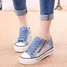 Side zipper denim women's casual shoes plus size women shoes autumn  woman shoe