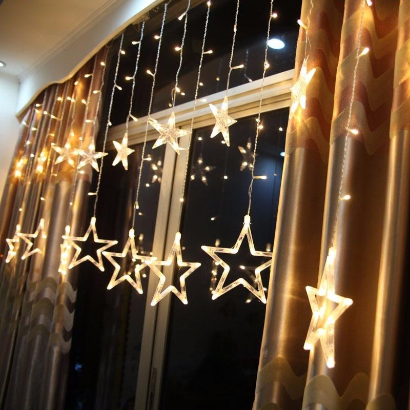 Decoraciones de Navidad para el hogar luces de la cortina estrella Led cadena al aire libre decoración de Año Nuevo Navidad Decoracion Kerst 12 lámpara. W
