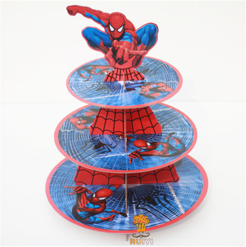 1pc 3-tier Super Hero Spiderman cupcake holder cake stand Holder 24pc cupcakes Theme Party For Kids Boy Girl Birthday Decoration1pc 3-tier Super Hero Spiderman cupcake holder cake stand Holder 24pc cupcakes Theme Party For Kids Boy Girl Birthday Decoration
