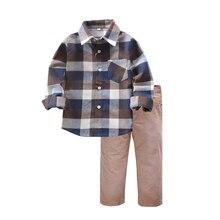 Ensemble dhiver 2 pièces pour garçons, nouvelle collection 2019, chemise, pantalon, Plaid, en coton, pour garçons