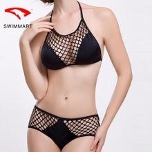 SWIMMART bikin high waist solid color mesh swimwear women bikini push up bathing suit swimming