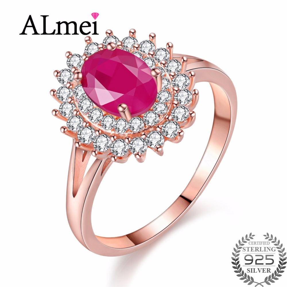 Almei 1ct Natural Ruby 925 Sterling Silver Rose Gold Color Jewelry for Women Princess Diana Engagement Rings with Box 40% FJ091Almei 1ct Natural Ruby 925 Sterling Silver Rose Gold Color Jewelry for Women Princess Diana Engagement Rings with Box 40% FJ091