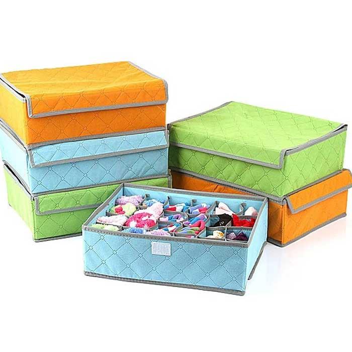 Hot Sale NEW Brand 2016 New Portable Non Woven Bamboo Charcoal Fibre Storage Box For Bra Underwear 1 pc Free Shipping