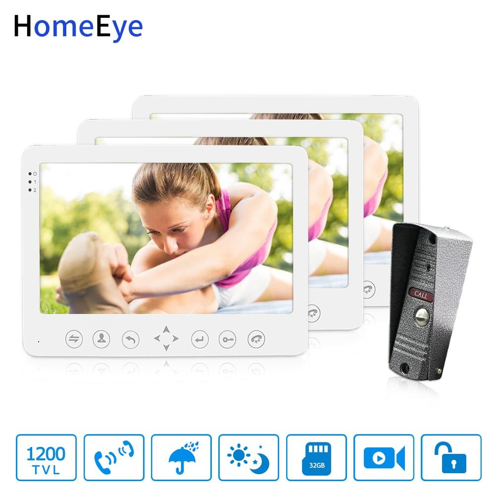 HomeEye 7'' Video Door Phone Video Intercom Doorbell 1200TVL IP65 Rainproof Motion Detection OSD Menu 1-3 Security Access System