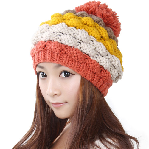 BomHCS Cute Sweet Winter Warm Handmade Knitted Hat Women Lady Beanie Hats Cap bomhcs cute women autumn winter warm thick handmade knit hats beanie cap hat