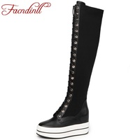 FACNDINLL Wedge Boots Autumn Winter Boots Woman Over The Knee Boots European Style Cross Tied High