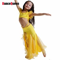 2015 New Girls Belly Dance Costume 2 Pcs Top Skirt Kids Bollywood Costumes Red Rose Yellow