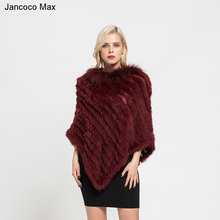 Jancoco Max 2018 New Arrival Real Rabbit Fur Knitted Poncho Raccoon Fur Collar Shawls Women Winter Capes Pullover S7110