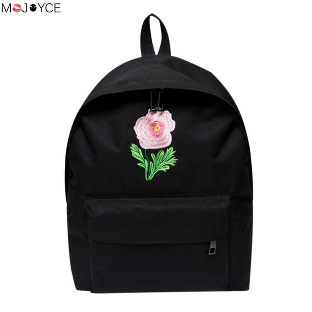 22737085dbfd MOJOYCE Harajuku Rose Embroidery Backpack White Black Women Travel Backpack  Students Canvas Double Shoulder Bag Mochila