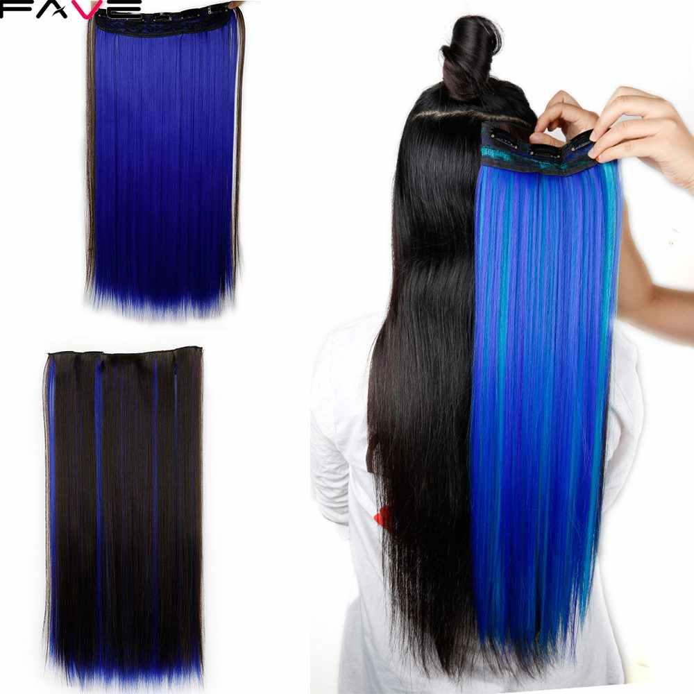 5 накладные волосы на заколке прямые смешанные коричневый/синий/розовый/зеленый длинные прямые синтетические волосы на клипсах клип в одном волосе