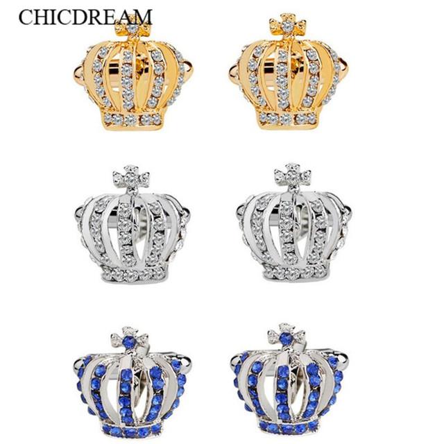 Top Grade Crystal Crown Cufflinks Mens Wedding Cuff Buttons Business