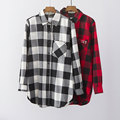 2016 Autumn Women White Black Plaid Long Cotton Blouse Shirt Long Sleeve Diamonds Pocket Casual Blusas Shirts Plus Size