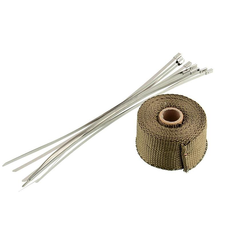 VEHEMO 2x5m High Temp Exhaust Heat Wrap Army Green Heater Retention Resistant Downpipe10 Stainless Steel Replacement Ties Tape