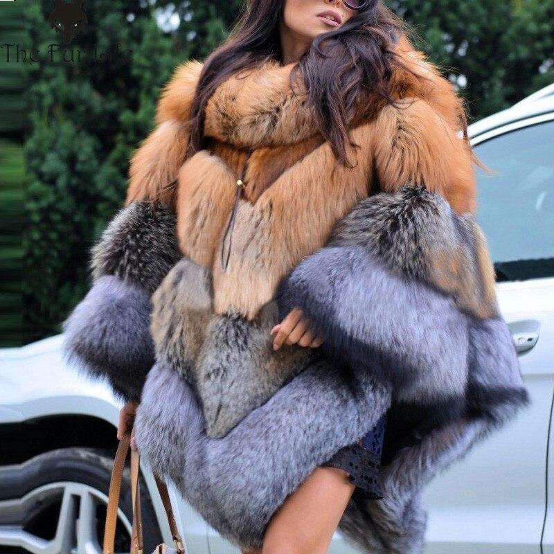 2018 di Modo di Lusso Wholeskin Pelliccia di Volpe Del Capo Addensare Caldo Per Le Signore Red & Silver Fox Cappotti di Pelliccia Grande Promozione del commercio all'ingrosso cappotti