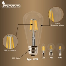 LED Filament Bulb E27 Retro Edison Lamp 220V E14 Vintage Candle Light Globe Chandelier Lighting COB Home Decor DIMMABLE
