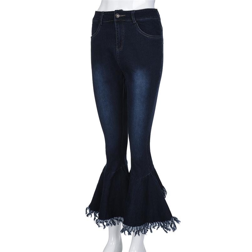 Fashion Women Hight Waisted Skinny Hole Denim Jeans Flare Pants Stretch Slim Pants Bell-bottoms Casual Jean Lady Jeans #K29 (7)