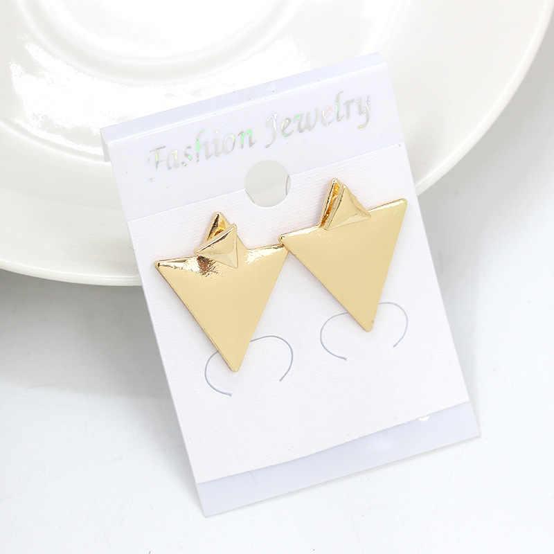 קסם גיאומטרי משולש הרבעה עגילים זוגי כסף זהב נשים גבירותיי אוזן תכשיטי אביזרי אופנה הפאנק