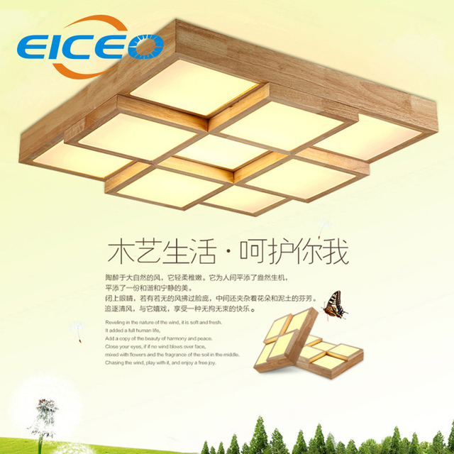 Eiceo Nordic Wood Led Ceiling Lamp Creative Bedroom Living Room Rectangular Headlight Lamps Korean Art Light Free Ship