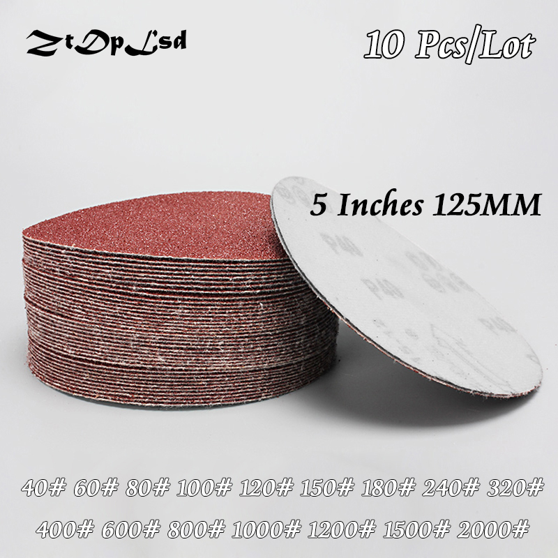 ZtDpLsd 10Pcs/lot Dry Grinding 5 Inches 125MM Paper Flocking Sandpaper Pad Sanding Disc Woodworking Electric Grinder Accessories