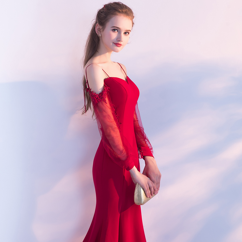 SSYFashion New Simple Sexy Red Mermaid Long Evening Dress The Banquet  Sweetheart Long Sleeved Backless Fishtail Prom Party Gown-in Evening Dresses  from ... 38f3705c3f50