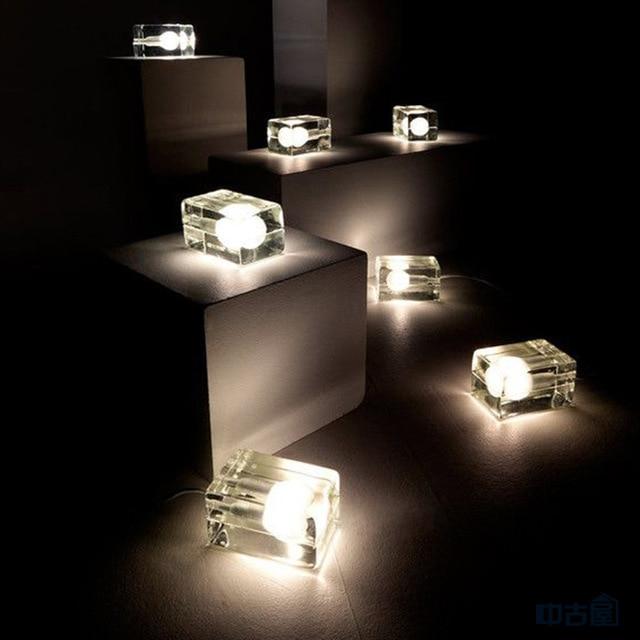 modern ice cube crystal glass table lamps Modern creative table lamps Harri Koskinen Design House Stockholm art deco lights