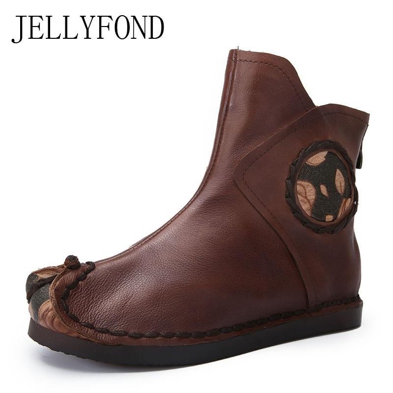 цена на JELLYFOND Genuine Leather Women Flat Boots 2018 Retro Designer Handmade Winter Shoes Woman Western Cowboy Ankle Boots Big Size