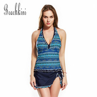 Lace Swim Dress Halter Neck Swimwear Women One Piece Swimsuits Push Up Bathing Suit V Collar