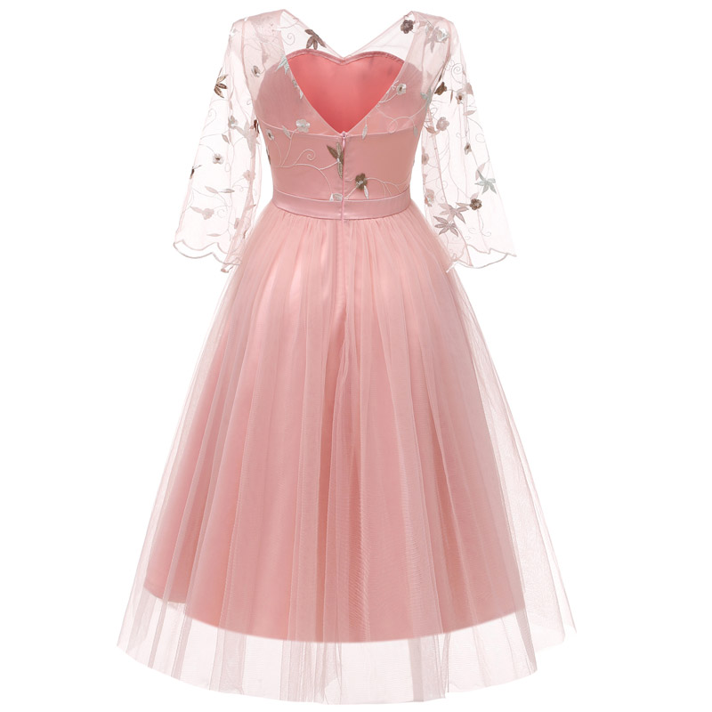 JLI MAY Vintage 3 Layer Mesh Tutu Dress Party Evening Embroidery ... f13371e3d147