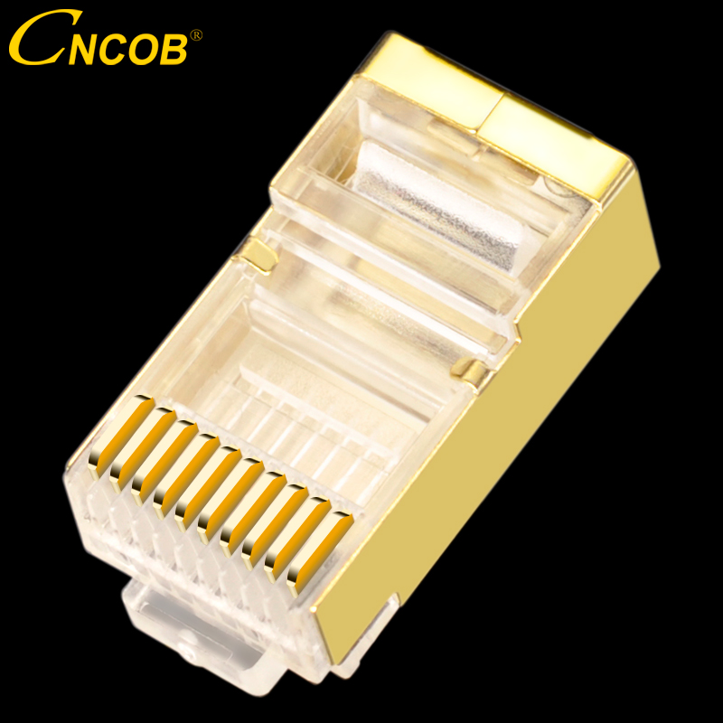 Cat5E 10p10c rj45 rj48 rj50 FTP Gold plated copper shell Ethernet connector Cable connector Modular plug Network Crystal head cable terminal transparent crystal head 20 pcs crystal head rj45 cat5 cat5e modular plug gold plated network connector