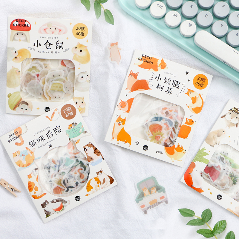 40 Pcs/pack Kawaii Corgi Cat Rabbit Hamster Diary Journal Animal Stickers Scrapbooking Paper Cute Stationery Scrapbook Supplies